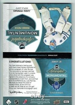 12-13 UD The Cup Autographed Monumental Rookie Patch Jussi Rynnas /3