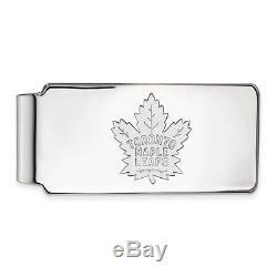 14k White Gold NHL Hockey LogoArt Licensed Toronto Maple Leafs Money Clip
