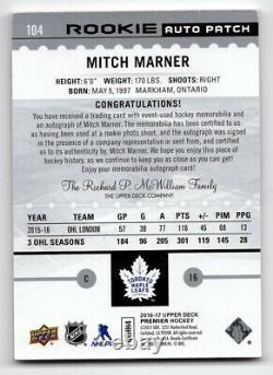 16-17 Upper Deck Premier Rookie Patch/Autograph Mitch Marner 38/199