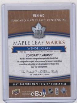 17-18 2017-18 Toronto Maple Leafs Centennial Maple Leaf Marks #MLMWC Clark AUTO