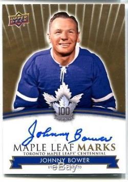17-18 UD Toronto Maple Leafs Centennial Autograph MLM-JB Johnny Bower (Group B)