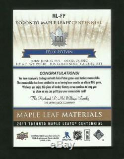 17-18 UD Toronto Maple Leafs Centennial FELIX POTVIN PREMIUM PATCH GOLD #03/15