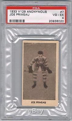 1933 V129 Anonymous Toronto Maple Leafs Hockey Card #7 Joe Primeau Graded PSA 4
