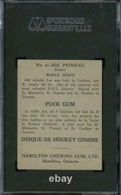 1933 V288 Hamilton Gum #2 Joe Primeau Maple Leafs HOF SGC 45 Rookie