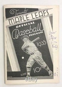 1935 Rochester Red Wings Vs Toronto Maple Leafs Baseball Program Johnny Mize