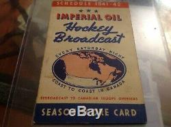 1941-42 Imperial Oil NHL Hockey Broadcast Schedule Night In Canada Montreal Rare