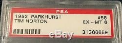 1952 1952-53 Parkhurst #58 Tim Horton Rookie PSA 6 EX-MT Toronto Maple Leafs