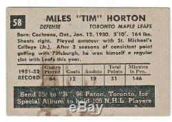 1952-53 PARKHURST Hockey #58 MILES TIM HORTON Rookie Card RC, Toronto Maple Leafs