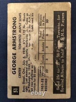 1952 53 Parkhurst #51 George Armstrong RC Rookie Card HOF
