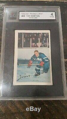 1952-53 Parkhurst Tim Horton RC #58 KSA 4 VG-EX Vintage Toronto Maple Leafs