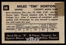 1952-53 Parkhurst Tim Horton Rookie Toronto Maple Leafs #58