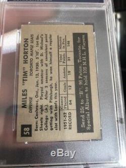 1952 Parkhurst Tim Horton ROOKIE RC #58 PSA 5 Toronto Maple Leafs Centered