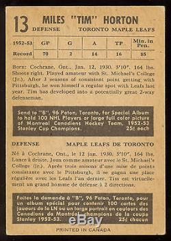 1953 54 Parkhurst Hockey #13 Tim Horton Ex+ Toronto Maple Leafs Hof Card