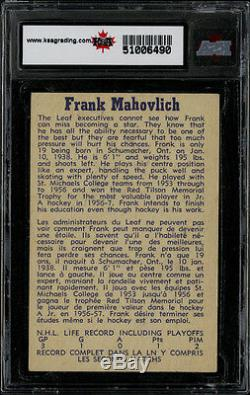 1957 Parkhurst #17 Frank Mahovlich Ksa 8 Very Reasonably Priced Hof Rookie Card