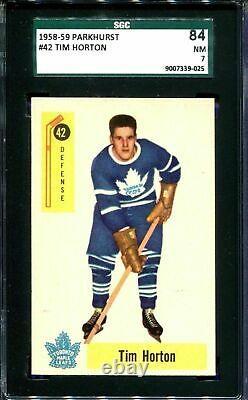 1958-59 Parkhurst #42 Tim Horton Hockey Card Toronto Leafs Sgc 84 7 Nm! Bv 200$