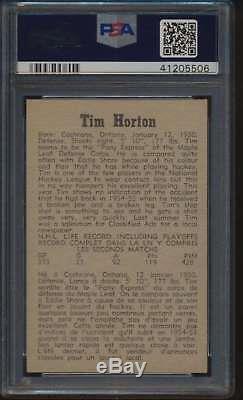 1958 Parkhurst #42 Tim Horton HOF PSA 8 NMMT 48289