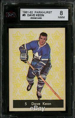 1961-62 Parkhurst #5 Dave Keon HOF Rookie Card Sharp Corners Perfect Color KSA 8