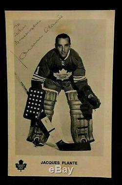 1971 Jacques Plante Autographed Signed Postcard Toronto NHL Hockey JSA Authentic
