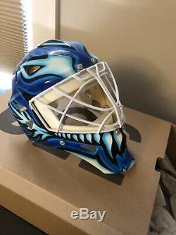 1995-96 Felix Potvin Mini Harrison Mask 1/3 Scale 90/750 Leafs Autographed Stand