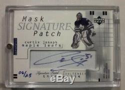 2001-02 UD Mask Collection Signature Patch Curtis Joseph 6/25 Super Rare Card