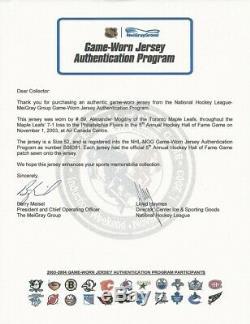 2003/04 Alexander Mogilny Toronto Maple Leafs Game Worn JerseyHHOF Patch