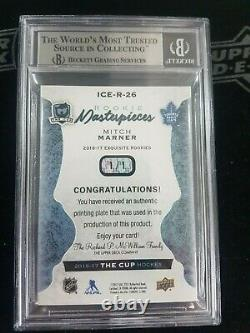 2016 16-17 The Cup Mitch Marner Ice Rookie Printing Plates Cyan 1/1 Bgs 9 Leaf