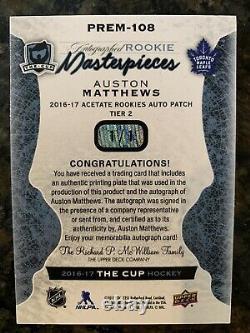2016-17 AUSTON MATTHEWS THE CUP Auto ROOKIE PRINTING PLATE 1/1