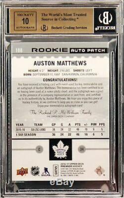 2016-17 Auston Matthews Upper Deck Premier RC Rookie Patch Auto /199 BGS 9.5 /10