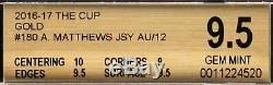 2016-17 Auston Matthews Upper Deck The Cup Gold RC Rookie Patch Auto /12 BGS 9.5