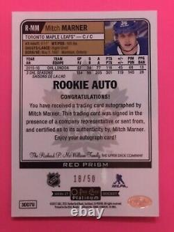2016 17 OPC Platinum Red Prism Rookie Mitch Marner RC Autograph /50 Leafs Rare