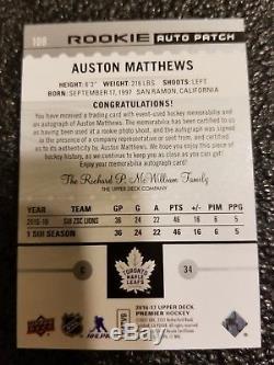 2016-17 Premier Rookie Acetate Patch Auto Auston Matthews Toronto Maple Leafs