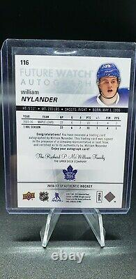 2016-17 Sp Authentic WILLIAM NYLANDER Future Watch Auto /999 Toronto Maple Leafs