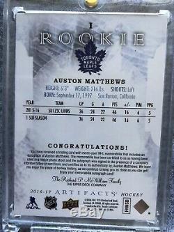 2016-17 UD Artifacts Rookie DUAL Patch Autograph GOLD /15 Auston Matthews 1st RC
