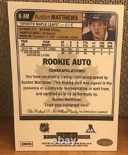 2016 17 UD OPC Platinum R-AM Rookie RC Auto Auston Matthews Toronto Maple Leafs
