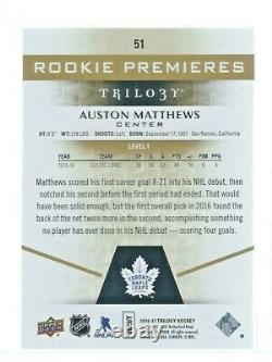 2016 17 UD Trilogy Auston Matthews #51 Rookie 775/999 Lvl 1 -Toronto Maple Leafs