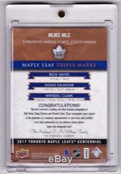 2016-17 Ud Centennial Toronto Maple Leafs Gilmour Clark Vaive Triple Auto /15