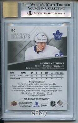 2016-17 Ultimate Collection Auston Matthews BGS 9 auto 10 #160 05/99 Maple Leafs