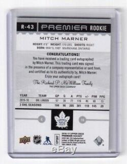 2016-17 Upper Deck Premier Autograph Mitch Marner Toronto Maple Leafs 03/25