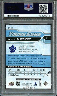 2016 Upper Deck #201 Auston Matthews Young Guns Leafs Rookie Rc Gem Mint Psa 10