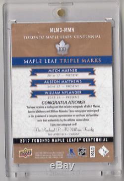 2017-18 Toronto Maple Leafs Centennial Triple Auto Marner/matthews/nylander 1/15