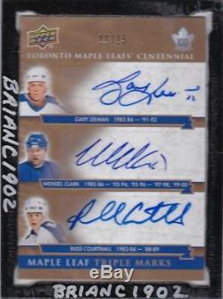 2017-18 Toronto Maple Leafs Centennial Triple Marks Card 11/15