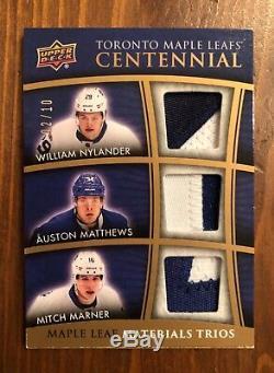 2017-18 Toronto Maple Leafs Centennial Triple Patch Nylander Matthews Marner /10