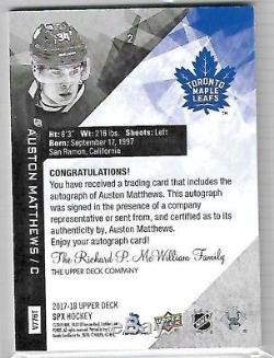 2017-18 Upper Deck SPX AUSTON MATTHEWS AUTO 14 /15 SSP 17-18 Toronto Maple Leafs