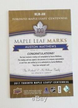 2017 TORONTO MAPLE LEAFS CENTENNIAL MLM-AM Auston Matthews A
