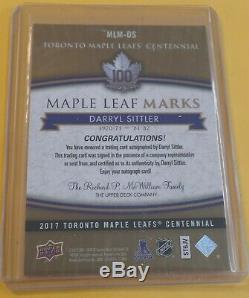 2017 Toronto Maple Leafs Centennial Auto Marks DARRYL SITTLER