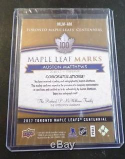 2017 Toronto Maple Leafs Centennial Auto Marks MLM-AM Auston Matthews A