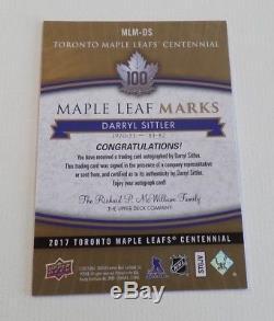 2017 Toronto Maple Leafs Centennial Auto Marks MLM-DS Darryl Sittler