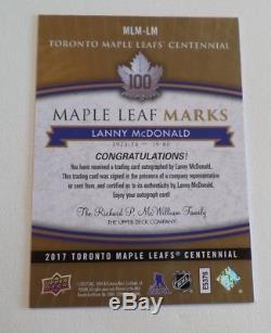 2017 Toronto Maple Leafs Centennial Auto Marks MLM-LM Lanny McDonald B