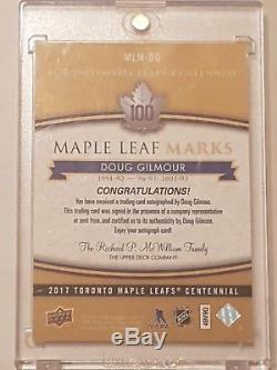 2017 Toronto Maple Leafs Centennial Doug Gilmour Auto Marks Group A 17-18