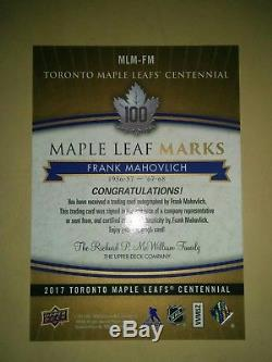 2017 Toronto Maple Leafs Centennial Frank Mahovlich Mark Auto GROUP B MLM-FM